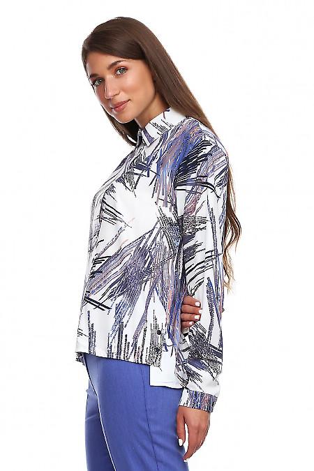Купить блузку в полоски с пуговицами сбоку. Деловая женская одежда фото