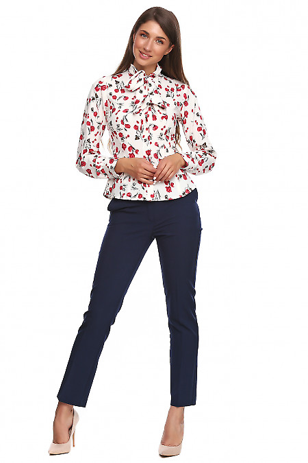 Купить молочную блузку с бантом Деловая женская одежда фото