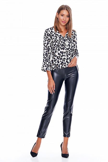 Брюки черные кожаные Деловая женская одежда фото
