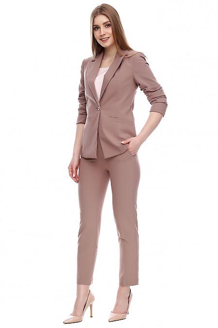Брюки с высокой посадкой темно-бежевые Деловая женская одежда фото