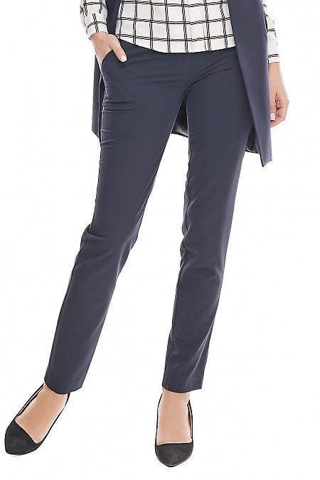 Брюки синие классические с широким поясом  Деловая женская одежда фото