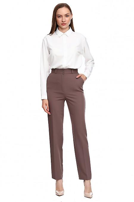 Купить брюки сиреневые с высоким поясом. Деловая женская одежда фото