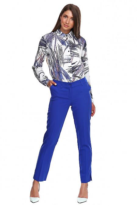Купить брюки укороченные электрик на кокетке. Деловая женская одежда фото