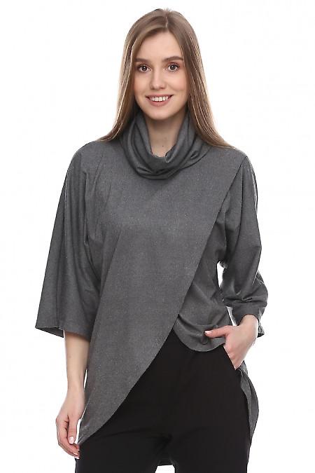 Купить джемпер серый с высоким воротником. Деловая женская одежда фото