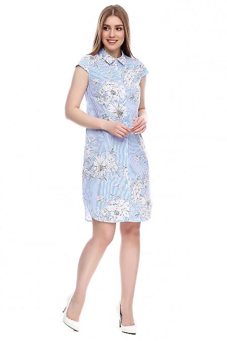 Платье-рубашка в голубую полоску Деловая женская одежда фото