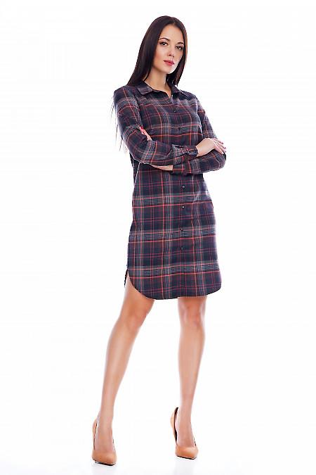 Платье-рубашка в клетку Деловая женская одежда фото