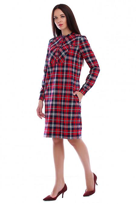 Купить платье-рубашку в синие-красную клетку. Деловая женская одежда фото
