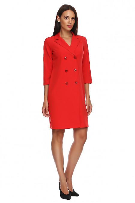 Купить платье-пиджак красного цвета. Деловая женская одежда фото