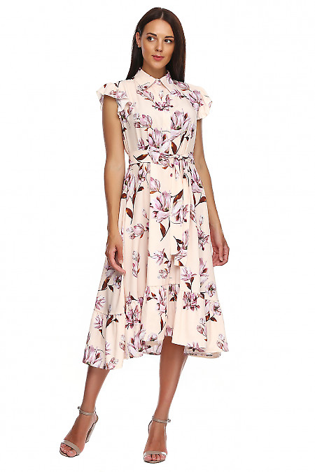 Платье бежевое в лилии с воланом. Деловая женская одежда фото