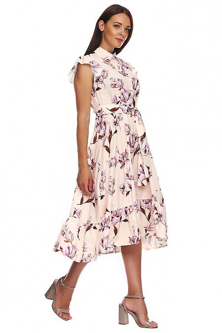 Купить платье бежевое в лилии с воланом. Деловая женская одежда фото