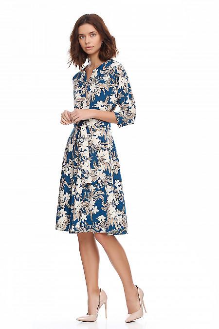 Купить платье бирюзовое в крупные цветы. Деловая женская одежда фото