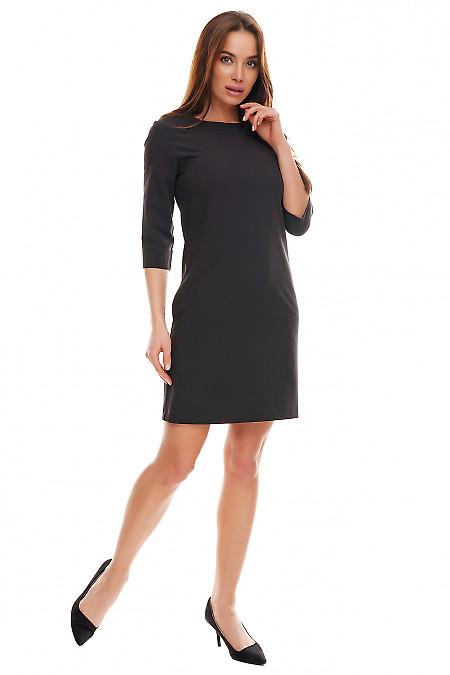 Купить платье черное с круглой горловиной и карманами. Деловая женская одежда