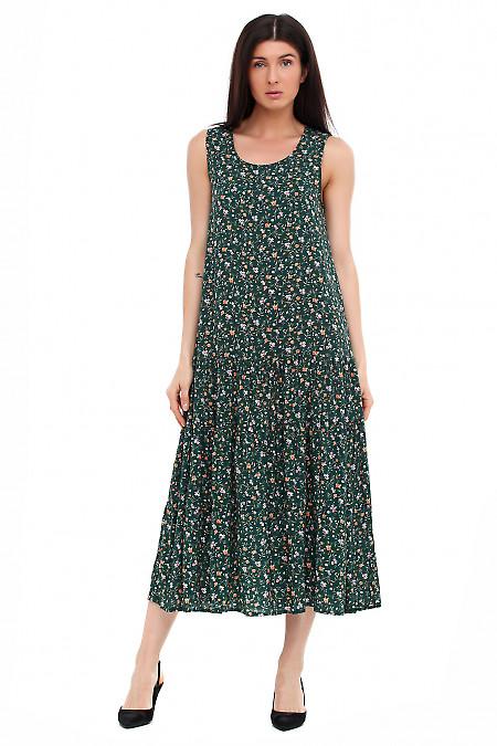 Платье длинное зеленое Деловая женская одежда фото