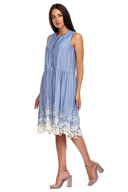 Купить платье голубое с купоном. Деловая женская одежда фото