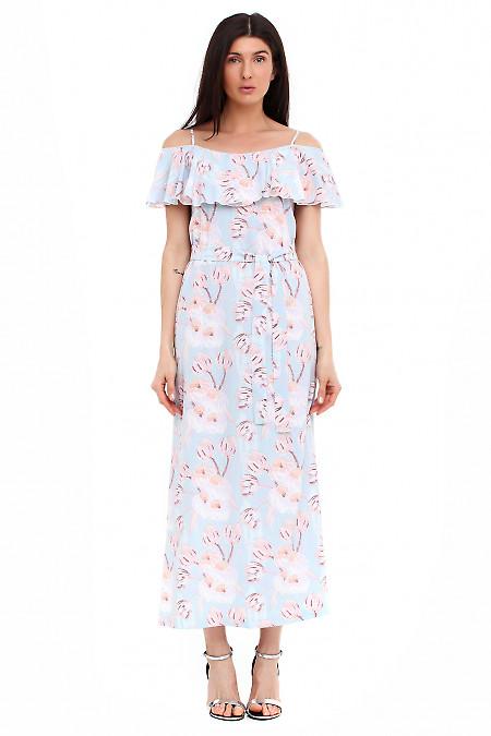 Платье голубое с воланом Деловая женская одежда фото