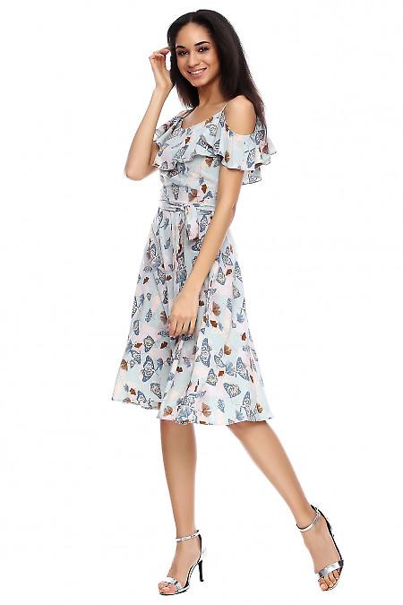 Платье голубое в бабочки на бретелях Деловая женская одежда фото