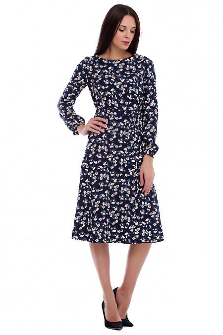 Купить платье из синего крепа в цветы. Деловая женская одежда фото