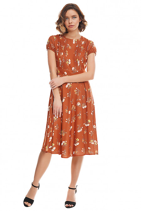 Купить платье коричневое в цветы Деловая женская одежда фото