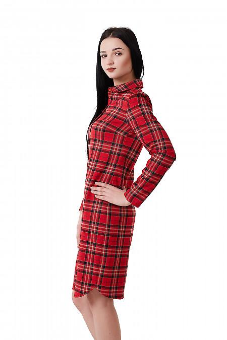 Купить платье красное с бежевой клеткой Деловая женская одежда фото