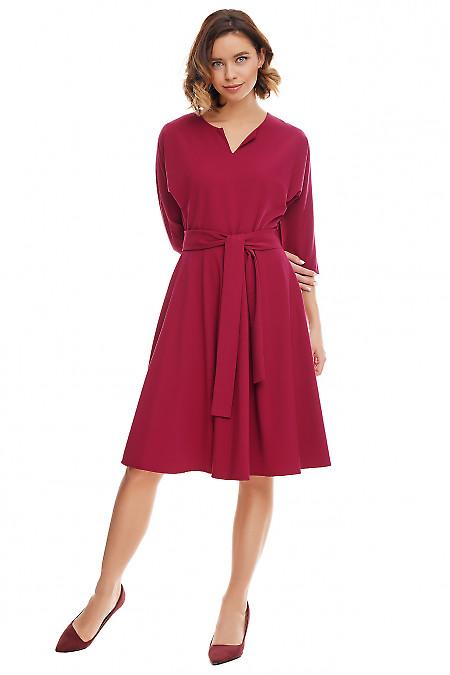 Платье марсале с рукавом летучая мышь Деловая женская одежда фото