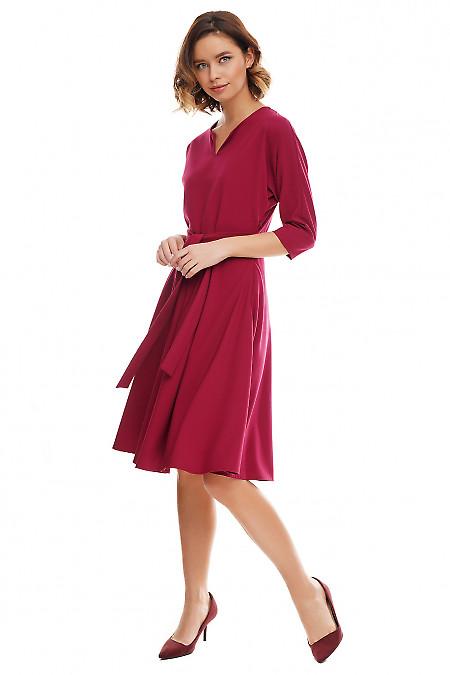 Купить платье марсале с рукавом летучая мышь Деловая женская одежда фото