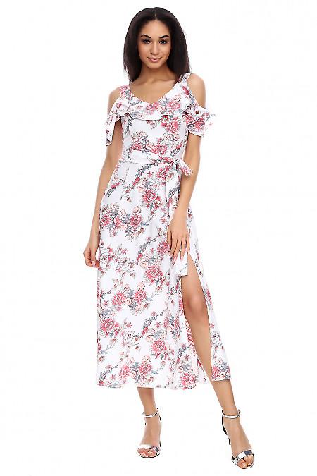 Платье молочное в цветы длинное Деловая женская одежда фото