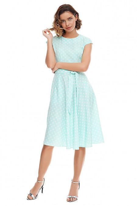 Платье пышное бирюзовое в белый горох Деловая женская одежда фото