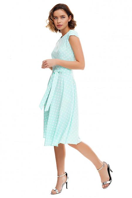 Купить платье пышное бирюзовое в белый горох Деловая женская одежда фото