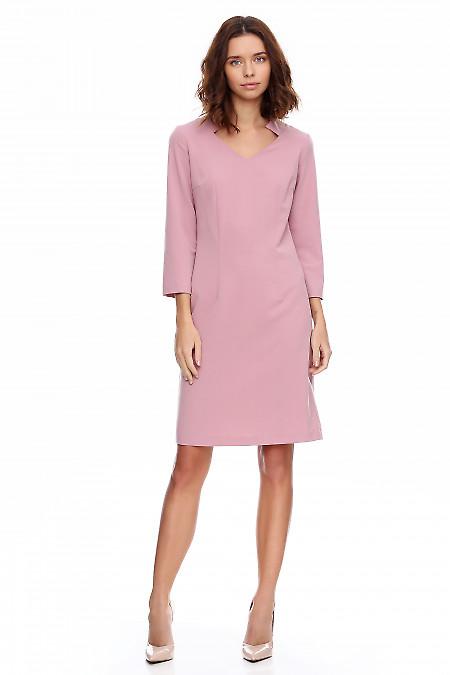 Платье розовое со стойкой и рукавом. Деловая женская одежда фото