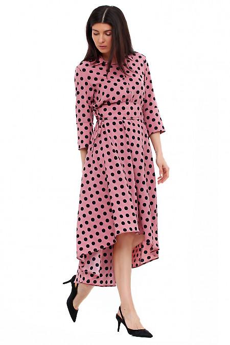 Купить платье розовое в чёрный горох. Деловая женская одежда фото