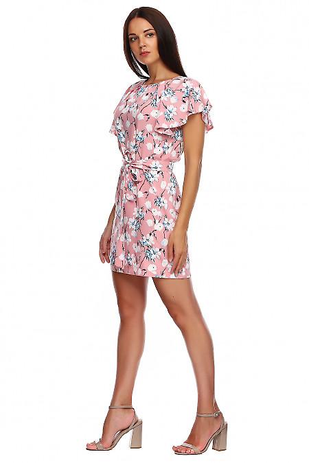 Купить платье розовое в тюльпаны с крылышками. Деловая женская одежда фото