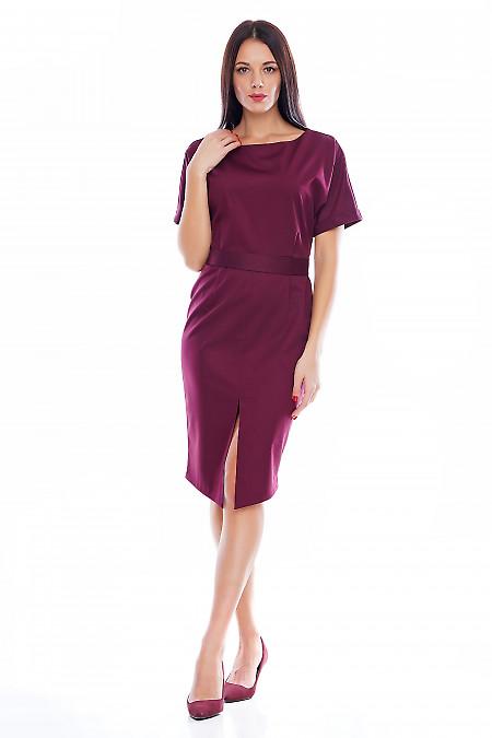 Платье с рукавом летучая мышь бордовое Деловая женская одежда фото