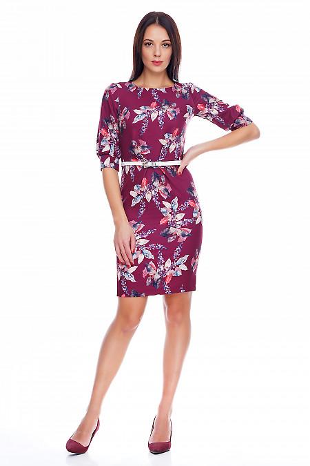 Платье с защипами по талии в цветы Деловая женская одежда фото