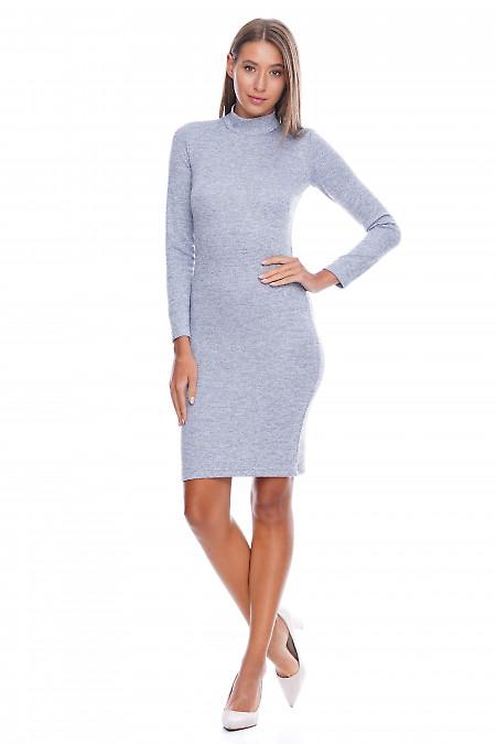Платье серо-голубое со стойкой Деловая женская одежда фото