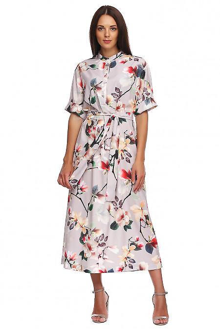 Платье серое в цветы со стойкой. Деловая женская одежда фото