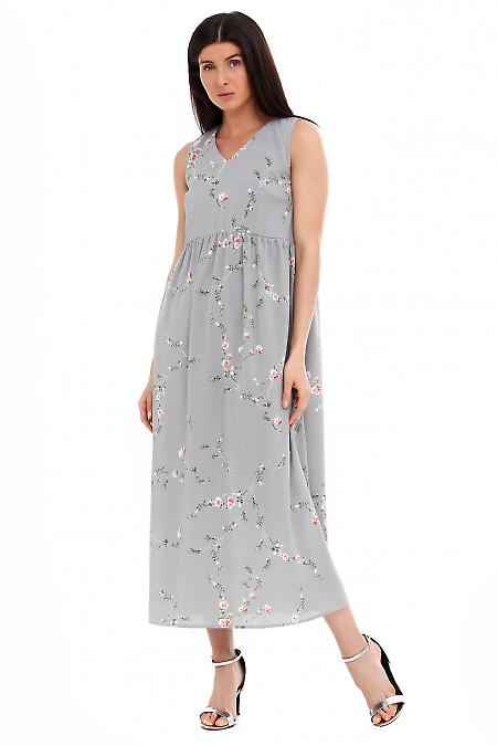 Платье серое в розовый цветок Деловая женская одежда фото