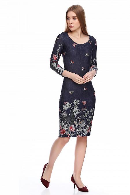 Теплое синее платье из мягкой нежной ангоры. Деловая женская одежда фото