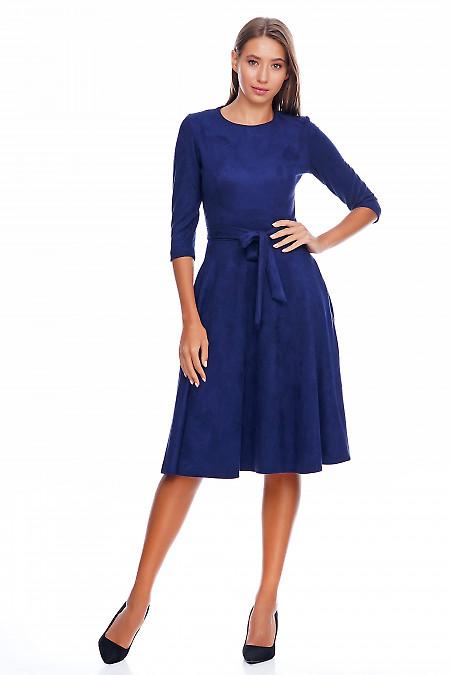 Платье синее под замш Деловая женская одежда фото