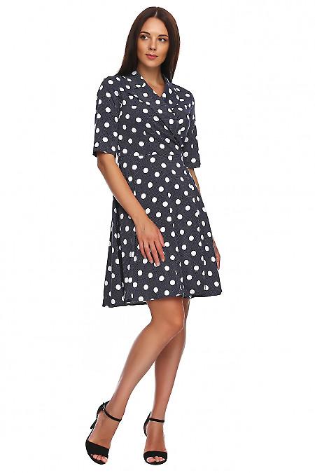 Купить платье синее в белый горох на запах. Деловая женская одежда фото