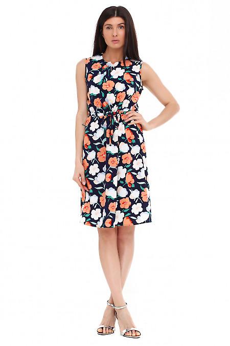 Платье синее в крупный оранжевый цветок Деловая женская одежда фото