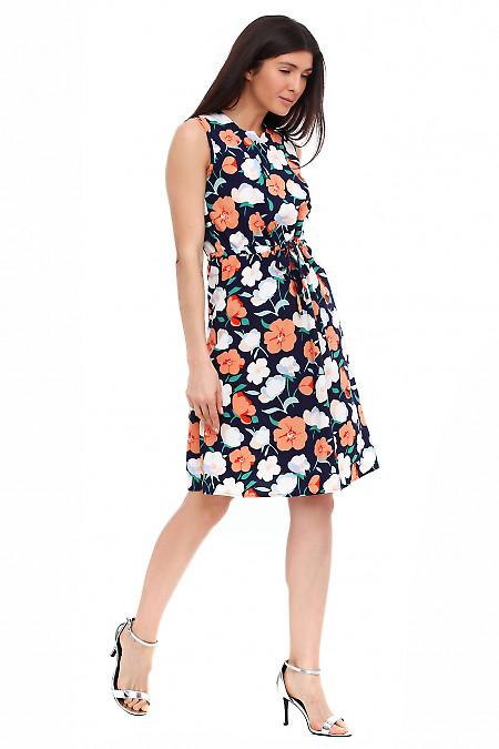 Купить платье синее в крупный оранжевый цветок Деловая женская одежда фото