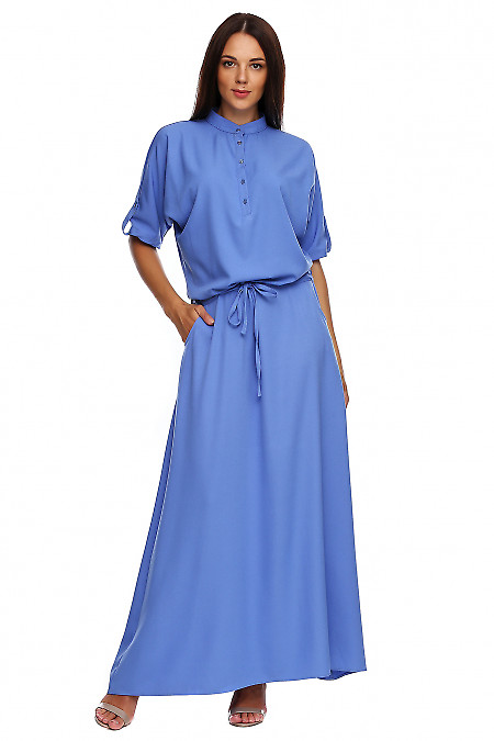 Платье синее в пол со стойкой. Деловая женская одежда фото