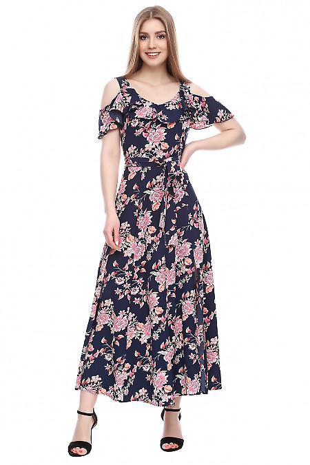 Платье темно-синее в цветы длинное Деловая женская одежда фото
