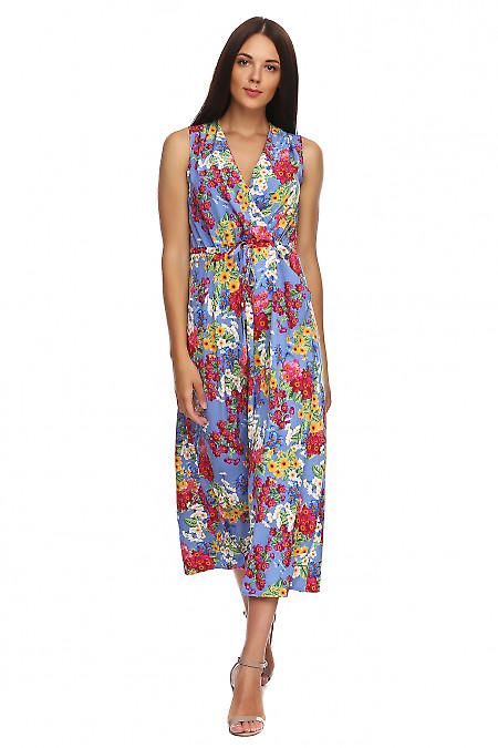 524f9422f Платье в пол с защипами на плечах синее в цветы. Деловая женская одежда  фото ...