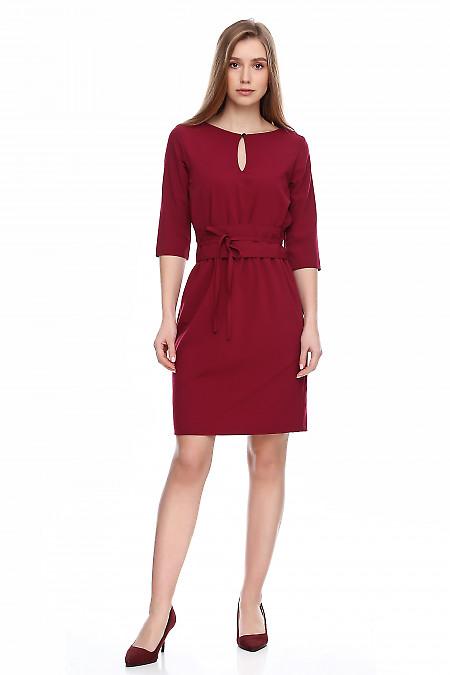 Платье вишневое на резинке с поясом. Деловая женская одежда фото
