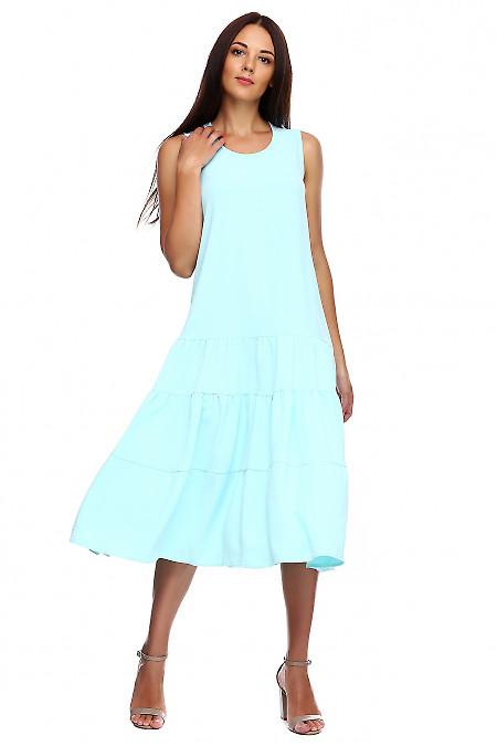Сарафан голубой с воланами. Деловая женская одежда фото