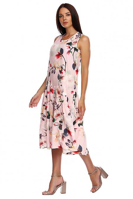 Купить розовый сарафан в цветы. Деловая женская одежда фото
