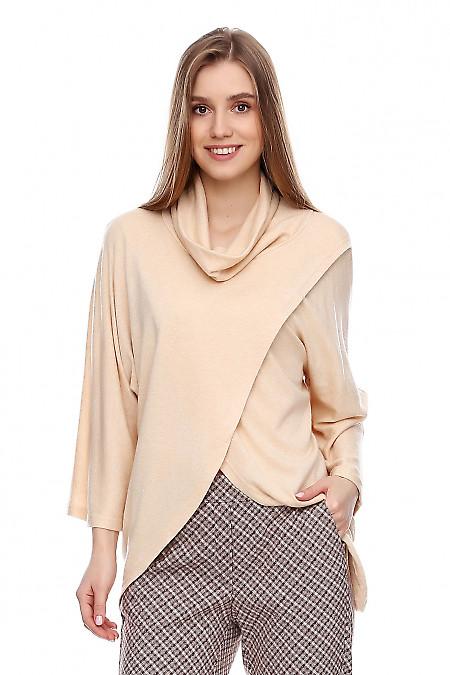 Туника персиковая тёплая со стойкой. Деловая женская одежда фото