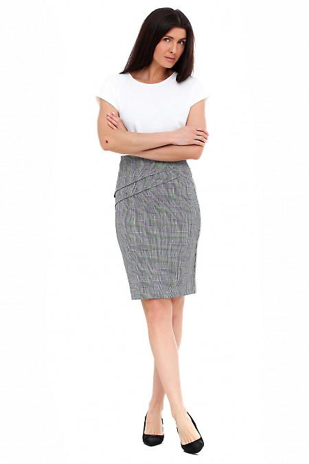 Купить юбку карандаш в серую клетку Деловая женская одежда фото