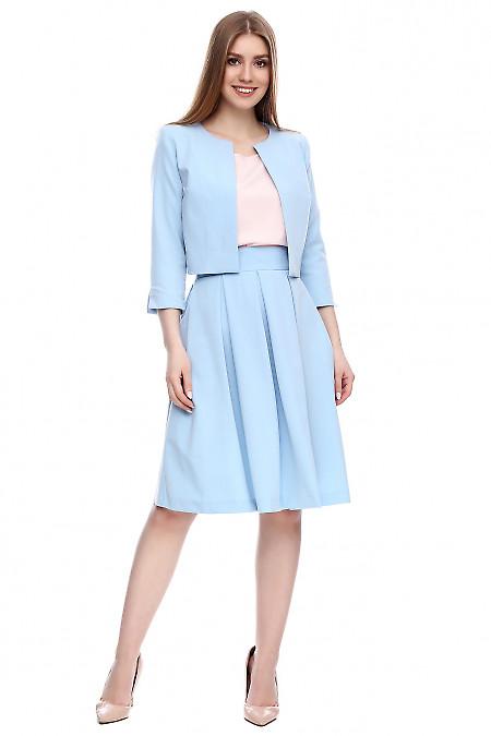 Юбка пышная голубая Деловая женская одежда фото